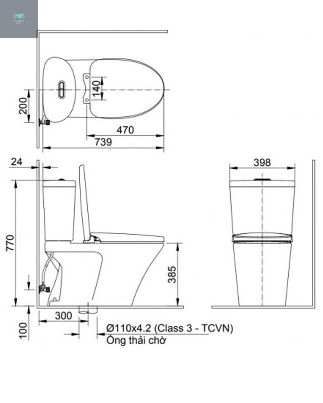 Bảng vẽ bồn cầu INAX AC-700VAN