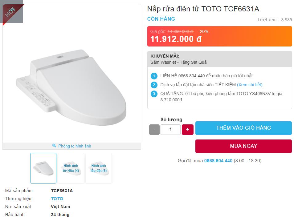 Giá bán nắp rửa điện tử Nắp rửa điện tử TOTO TCF6631A