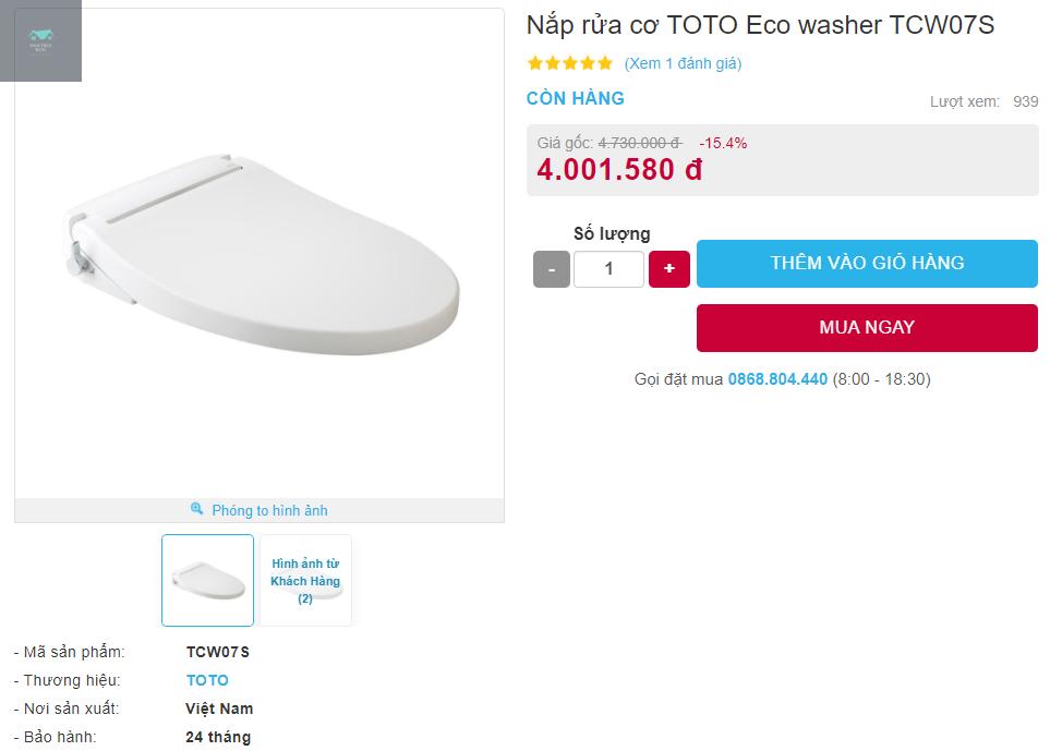 Giá bán nắp rửa cơ TOTO Eco washer TCW07S