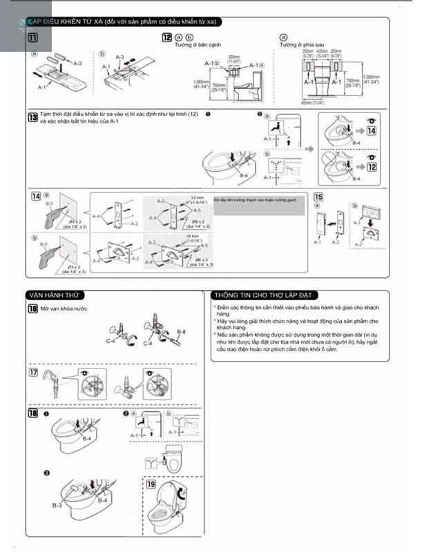 Hướng dẫn lắp đặt nắp rửa điện tử WASHLET TOTO TCF6531Z