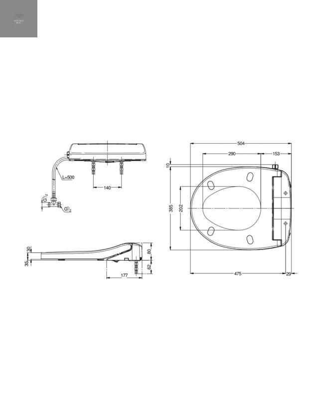 Thông số kỹ thuật nắp rửa cơ TOTO Eco washer TCW07S