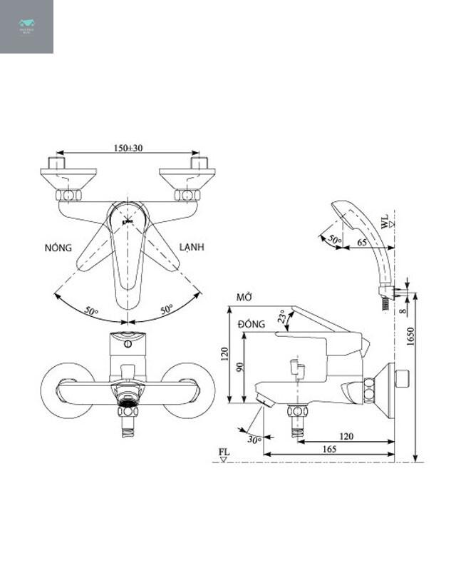 Thông số kỹ thuật vòi hoa sen BFV-17-4C lạnh của Inax