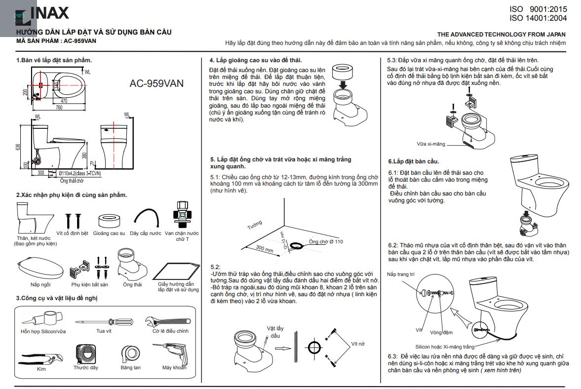 cách lắp đặt INAX AC-959VAN