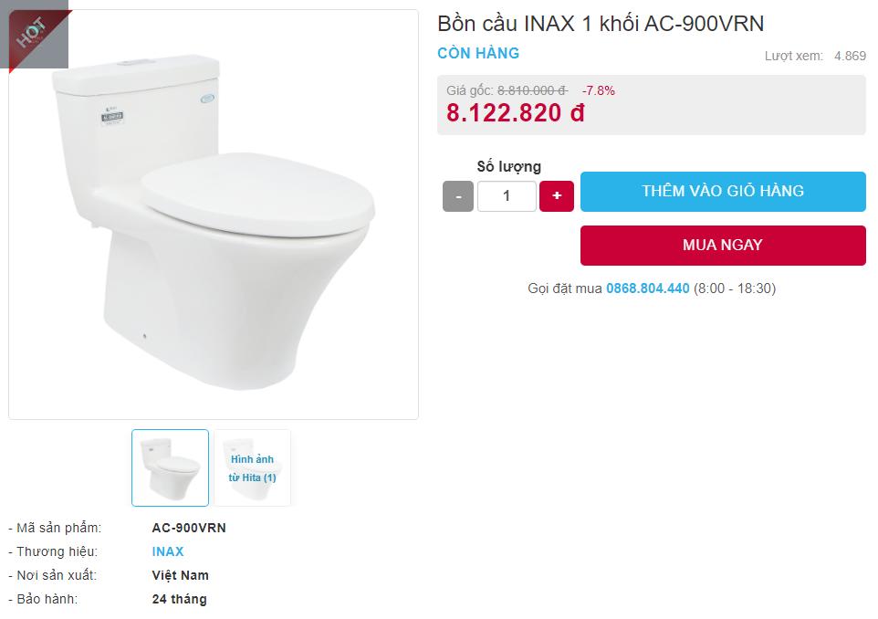 Giá bán bồn cầu Inax AC-900VRN