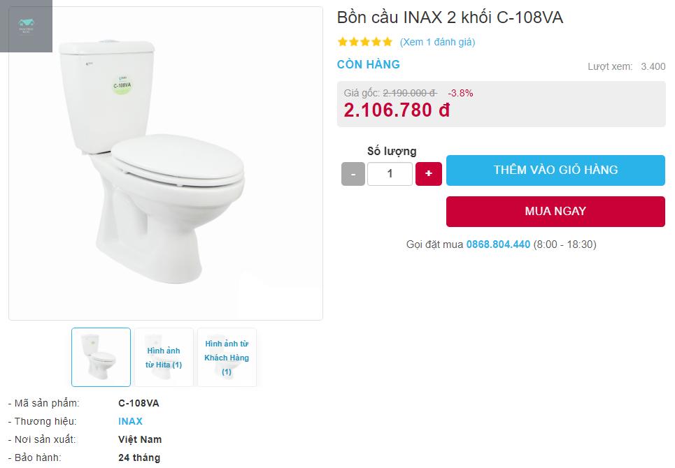 Giá bán bồn cầu Inax C-108VA hai khối